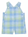Petit Ami Infant Boys Green / Blue Gingham Plaid Overall