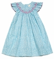 Petit Ami Infant Girls Turquoise / White Swirls Smocked Dress with Bloomers