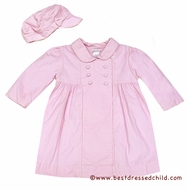 Petit Ami Infant / Toddler Girls Pink Cord Dress Coat with Hat