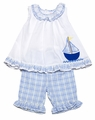 Petit Ami Infant / Toddler Girls White / Blue Sailboat Capri Pants Set