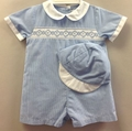 Petit Ami Newborn Baby Boys Blue Checks Smocked Romper with Hat