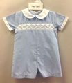 Petit Ami Newborn Baby Boys Blue Check Smocked Romper