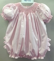 Petit Ami Preemie Baby Girls Sweet Pink Smocked Ruffle Bubble
