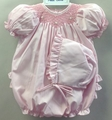 Petit Ami Preemie Baby Girls Sweet Pink Smocked Ruffle Bubble with Bonnet