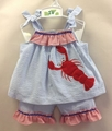 Petit Ami Toddler Girls Blue Seersucker / Red Lobster Shorts Set