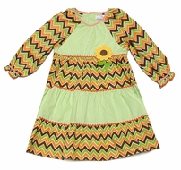 Petit Ami Toddler Girls Green Gingham & Orange / Brown Chevron Tiered Sunflower Dress