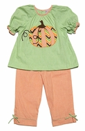 Petit Ami Toddler Girls Green / Orange Gingham - Chevron Pumpkin Pants Set