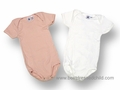 Petit Bateau Infant Baby Girls Two Pack Cotton Onesie Bodysuits - White and Pink