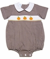 Petit Bebe by Anavini Baby Boys Brown Gingham Smocked Orange Pumpkins Bubble