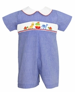 Petit Bebe by Anavini Baby Boys Royal Blue Check Smocked Noah's Ark Animals Romper - Boy