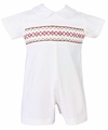 Petit Bebe / Anavini Baby Boys Winter White Corduroy Short Romper - Smocked in Red / Green