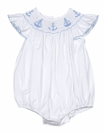 Petit Bebe by Anavini Baby Girls Blue Smocked Anchors & Sailboats on White Poplin Bubble