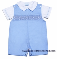 Petit Bebe by Anavini Baby / Toddler Boys Blue Poplin Smocked Shortall with Shirt