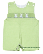 Petit Bebe by Anavini Baby / Toddler Boys Green Gingham Smocked Bunny Trio Shortall