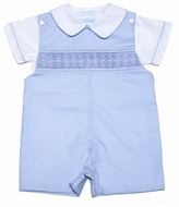 Petit Bebe by Anavini Baby / Toddler Boys Light Blue Poplin Smocked Shortall with Shirt Piped in Blue
