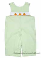 Petit Bebe by Anavini Baby / Toddler Boys Lime Green Gingham Smocked Orange Pumpkin Longall