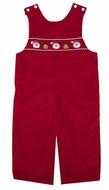 Petit Bebe by Anavini Baby / Toddler Boys Red Corduroy Smocked Santa Claus Faces Longall