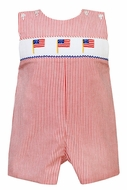 Petit Bebe by Anavini Baby / Toddler Boys Red Striped Seersucker Smocked Flags Shortall