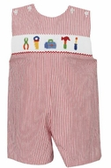 Petit Bebe by Anavini Baby / Toddler Boys Red Striped Seersucker Smocked Tools Shortall