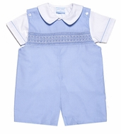 Petit Bebe by Anavini Baby / Toddler Boys Smocked Blue Poplin Shortall with Shirt