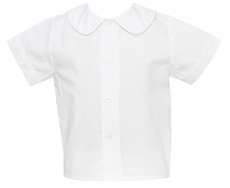 Petit Bebe by Anavini Baby / Toddler Boys White Button Front Shirt with Collar - Short Sleeves