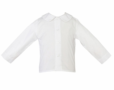 Petit Bebe by Anavini Baby / Toddler Boys White Peter Pan Collar Shirt - Button Front - Long Sleeves