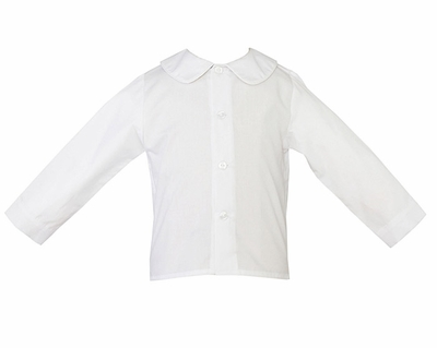 Petit bebe boys 39 white long sleeved peter pan collar shirt - Plaid bebe petit pan ...