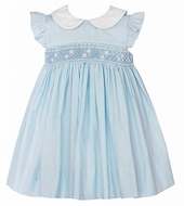 Petit Bebe by Anavini Baby / Toddler Girls Blue Gingham Dress Smocked with Daisies