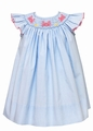 Petit Bebe by Anavini Baby / Toddler Girls Blue Micro Checks Dress - Smocked with Pink Crabs