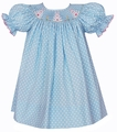 Petit Bebe by Anavini Baby / Toddler Girls Blue / White Dots Smocked Easter Bunnies Dress