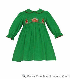 Petit Bebe by Anavini Baby / Toddler Girls Green Corduroy Smocked Christmas Gingerbread Dress
