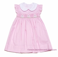 Petit Bebe by Anavini Baby / Toddler Girls Pink Check Smocked Bunnies Float Dress