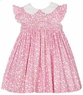 Petit Bebe by Anavini Baby / Toddler Girls Pink Floral Smocked Dress