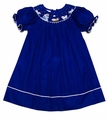 Petit Bebe by Anavini Baby / Toddler Girls Royal Blue Corduroy Smocked Nativity Bishop