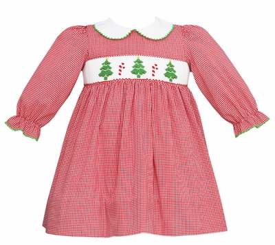 Bebe by anavini baby toddler girls red check smocked green christmas