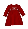 Petit Bebe by Anavini Baby / Toddler Girls Red Corduroy Smocked Santa Faces Dress - Long Sleeves