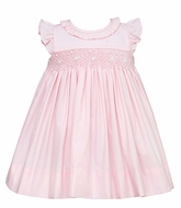 Petit Bebe by Anavini Baby / Toddler Girls Smocked Dress - Pink Poplin - Float with Ruffled Collar