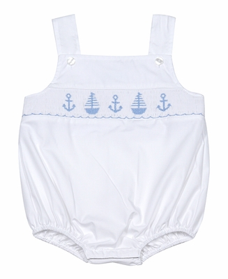 Petit Bebe by Anavini Infant Boys Blue Smocked Anchors & Sailboats on White Poplin Bubble