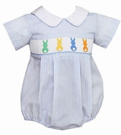 Petit Bebe by Anavini Infant Boys French Blue Striped Smocked Colorful Easter Bunnies Bubble