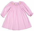 Petit Bebe by Anavini Infant Girls Smocked Birthday Cake Dress - Pink Corduroy - Long Sleeves