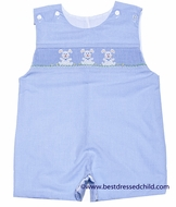 Petit Bebe by Anavini Infant / Toddler Boys Blue Check Smocked Bunnies Shortall