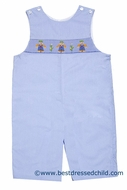 Petit Bebe by Anavini Infant / Toddler Boys Blue Smocked Scarecrow Longall