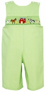 Petit Bebe by Anavini Infant / Toddler Boys Green Check Smocked Farm Longall