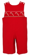 Petit Bebe by Anavini Infant / Toddler Boys Red Corduroy Smocked Candy Cane Longall