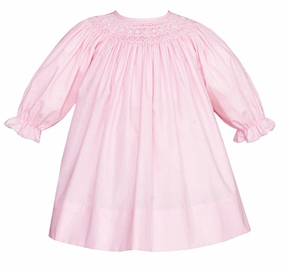 Petit Bebe by Anavini Infant / Toddler Girls Pink Poplin Smocked Bishop Dress - Long Sleeves