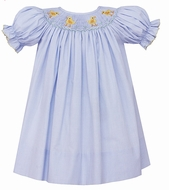 Petit Bebe by Anavini Infant / Toddler Girls Blue Micro Check Smocked Easter Chicks Bishop Dress