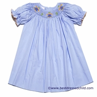 Petit Bebe by Anavini Infant / Toddler Girls Blue Smocked Scarecrows Bishop Dress
