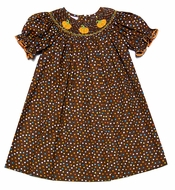 Petit Bebe by Anavini Infant / Toddler Girls Brown / Polka Dot Smocked Orange Pumpkins Dress