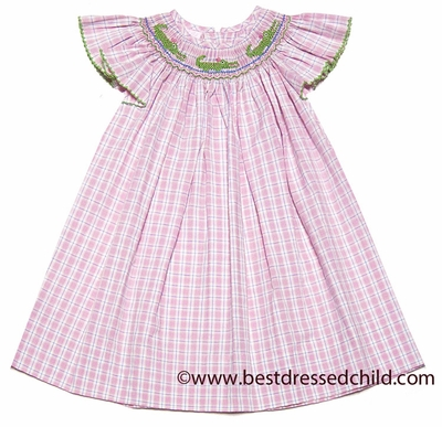 Petit bebe by anavini infant toddler girls pink plaid smocked green alligat - Plaid bebe petit pan ...