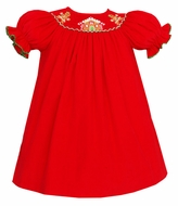 Petit Bebe by Anavini Infant / Toddler Girls Red Corduroy Smocked Gingerbread House Bishop Dress